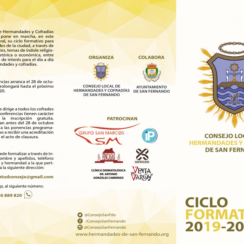 Ciclo Formativo del Consejo de Hermandades y Cofradías para el curso cofrade 2019/2020